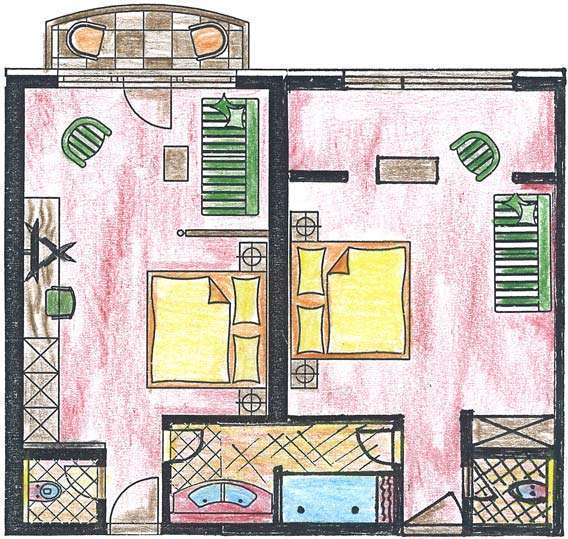 Doppelzimmer Saalbach: Hotel Egger Typ 2a Raumskizze